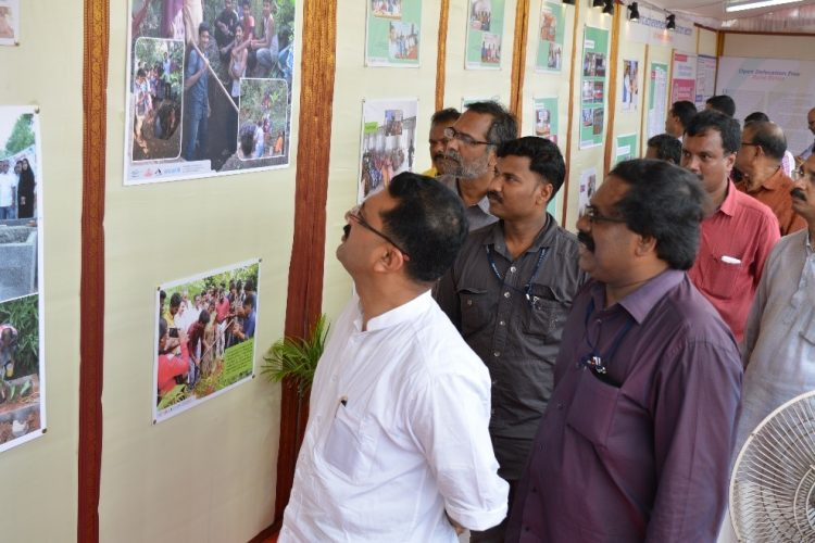 Dr. K.T Jaleel, Hon' Minister for LSGD viewing the exhibition on ODF held at Central Stadium Trivandrum on 1st November 2016