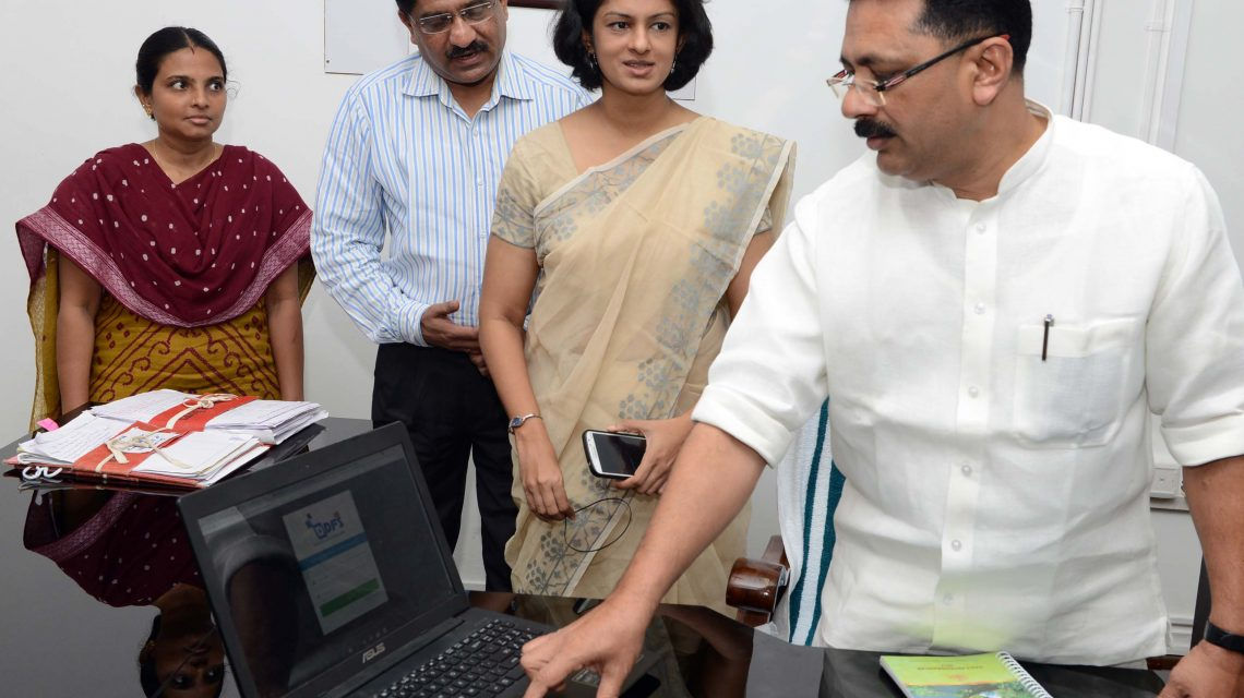 LSGD Minister Dr. K.T Jaleel, inaugurating the new website and e-office system of suchitwa mission