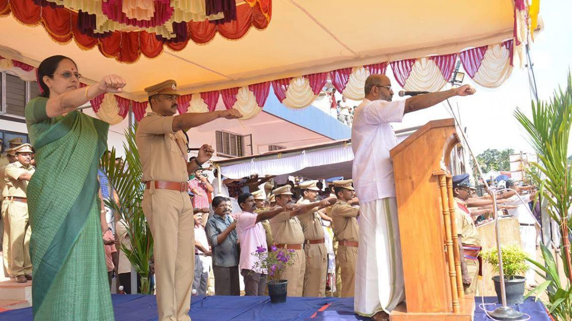 Minister for Water Resources Sri Mathew T Thomas recites pledge as part of Freedom from Waste Campaign