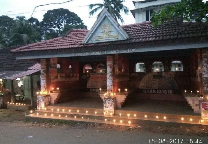 suchitwa deepam at a public bus stop in kottayam